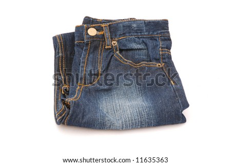 A folded washed out blue denim isolated on white background