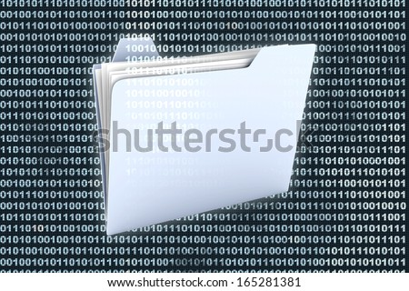 A folder icon in front of a binary, digital background. - stock photo