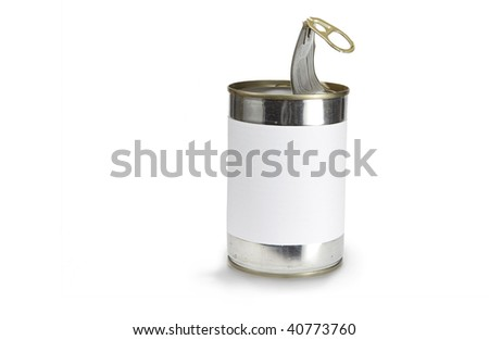 a food can with a pull tab isolated on white - stock photo