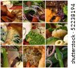 A food collage comprising an assortment of colourful dishes - stock photo