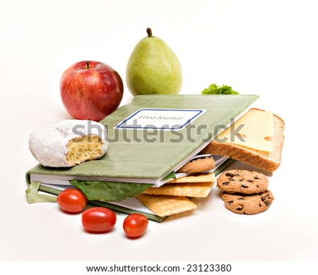 A food diary, journal; health diet concept. - stock photo