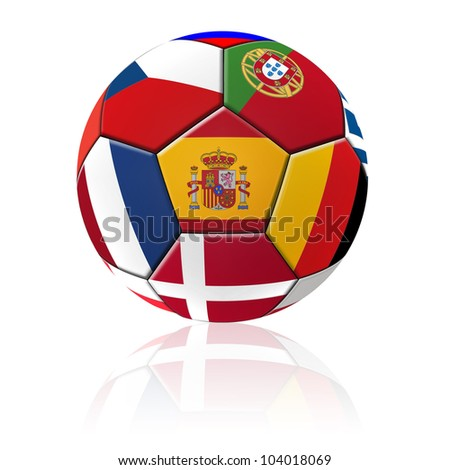 A football artwork with european flag with reflection on white background. - stock photo