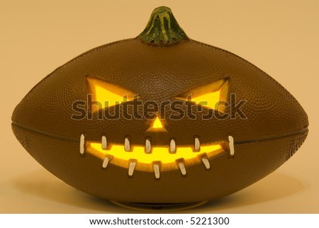 A football jack-o'-lantern - stock photo