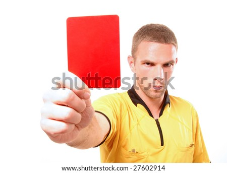 a football judge with red card - stock photo