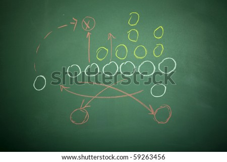 a football play on a chalkboard. - stock photo