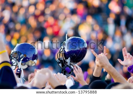 A football Victory with Blue Helmet