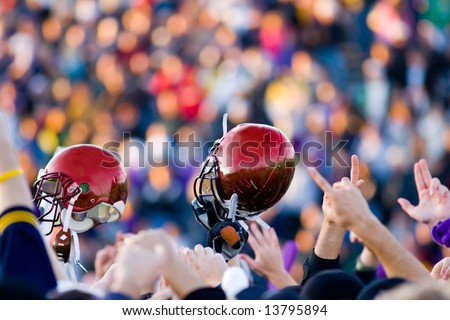 A football Victory with Red Helmet - stock photo