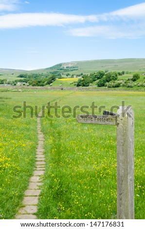 A Footpath sign in the Yorkshire Dales - stock photo