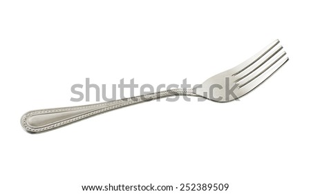 a fork on a white background - stock photo