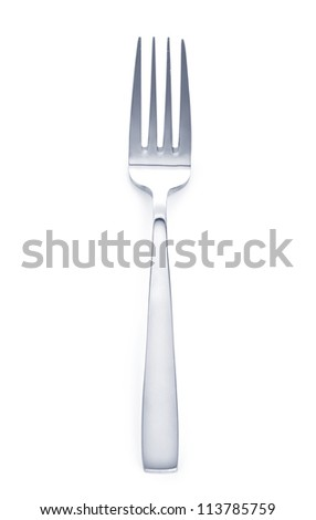 a fork on a white background close up - stock photo