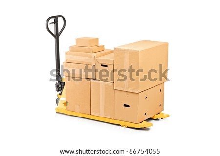 A fork pallet truck stacker with stack of boxes isolated on white background - stock photo