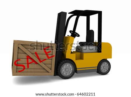 A forklift carrying a wooden crate with the word sale on the side - stock photo
