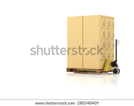 a forklift with a pallet boxes. isolated.3d rendering