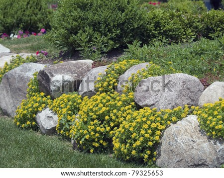 A formal garden edged with rock. There is yellow ground cover blooming between the spaces in the rocks. - stock photo