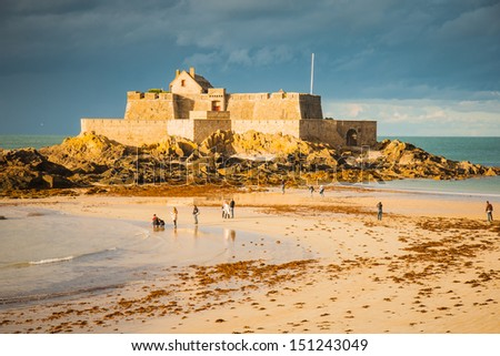 A fort in St. Malo, Brittany, France - stock photo