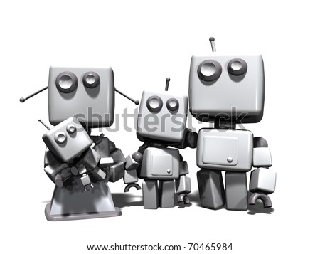 A four robots family, with mother, father, a young son and a baby; 3D computer generated on white background