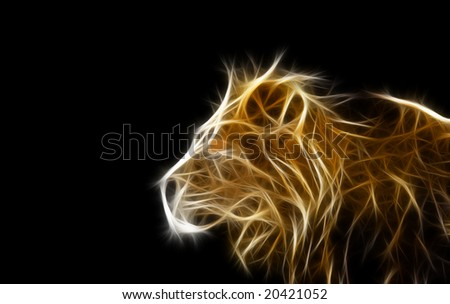 a fractal render or illustration of a male lion - stock photo