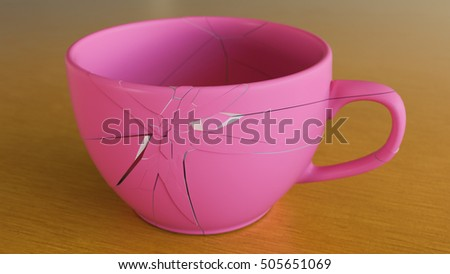 A fractured pink ceramic coffee cup on a clean and simple wood floor. This image is a 3D illustration.