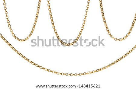 A fragment of a chain on a white background