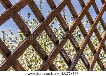 A fragment of a wooden summerhouse with a garden view - stock photo