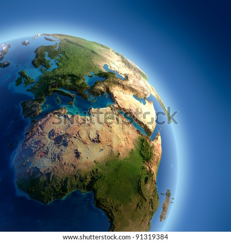 A fragment of the Earth with high relief, detailed surface, translucent ocean and atmosphere, illuminated by sunlight - stock photo
