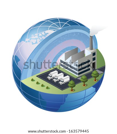 A fragment of the factory is located in the area of the globe - stock photo