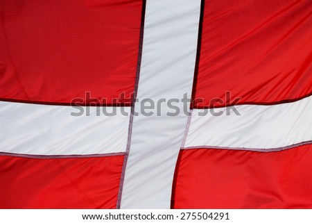 A fragment of the flag of Denmark - stock photo