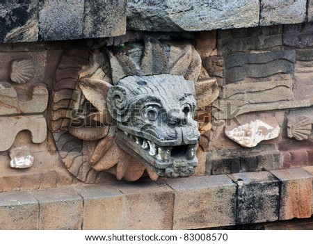 A fragment of the ruins of Teotihuacan - Mexico - stock photo