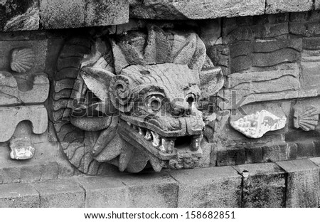 A fragment of the ruins of Teotihuacan - Mexico (black and white) - stock photo