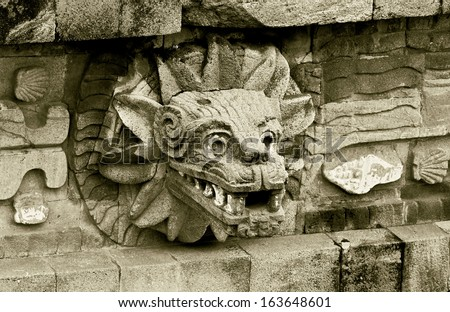A fragment of the ruins of Teotihuacan - Mexico (stylized retro) - stock photo