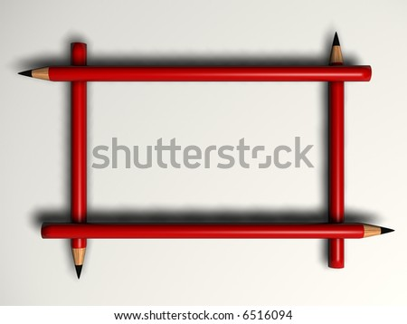 A frame created from pencils - 3d render