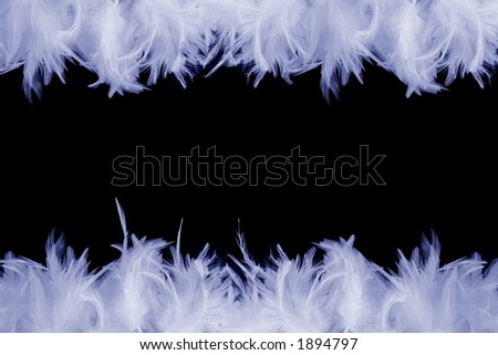A frame made of blue feathers on black background - stock photo