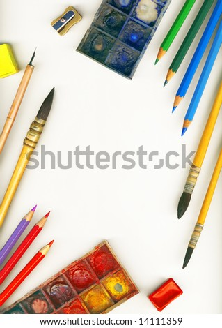A frame made of professional tools for drawing, isolated on white - stock photo