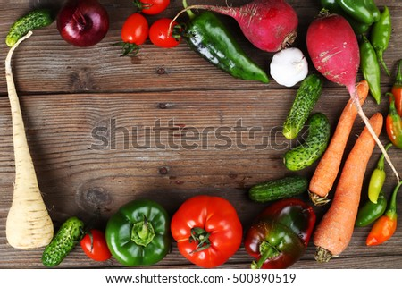 a frame of autumn vegetables