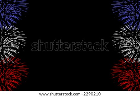 A frame of red, white, and blue fireworks. - stock photo
