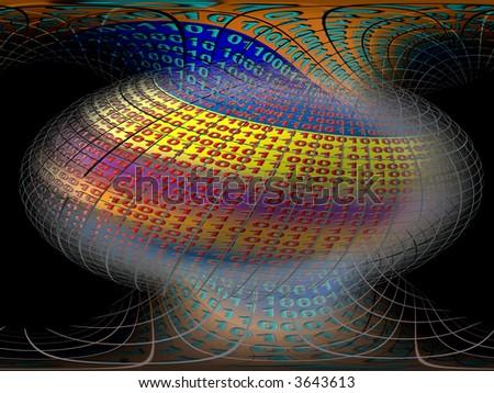A free interpretation of a virtual server in the internet cosmos, data streams. - stock photo