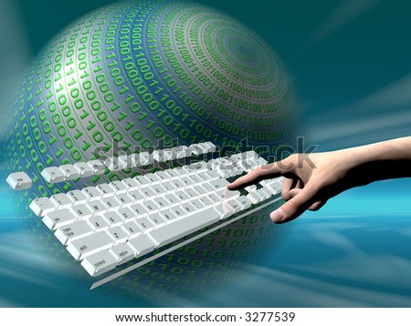 A free interpretation of an internet connection via keyboard, data streams.  Communication concept