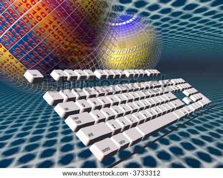 A free interpretation of an internet connection via keyboard, data streams.  Communication concept - stock photo