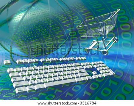 A free interpretation of internet shopping,  connection via keyboard, data streams.  Communication concept - stock photo