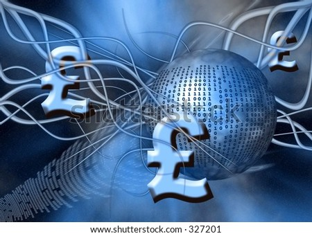 A free interpretation of money transfer over the internet, wireless transfers, the pound.