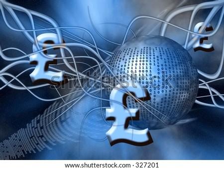 A free interpretation of money transfer over the internet, wireless transfers, the pound. - stock photo