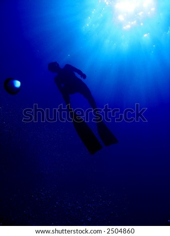 A freediver as he's going up for air - stock photo