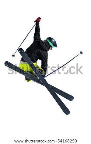 a freerider ski jumper with studded belt and gloves isolated on white - stock photo