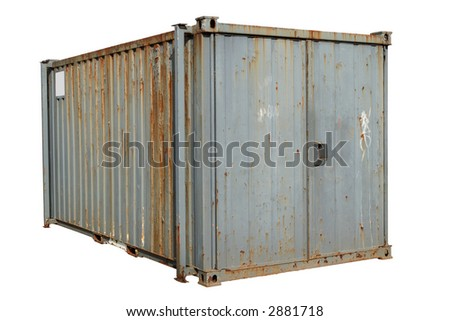 A freight container, isolated on a white background. - stock photo