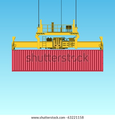 A Freight Containers on Crane at the Docks (Also available in Vector) - stock photo