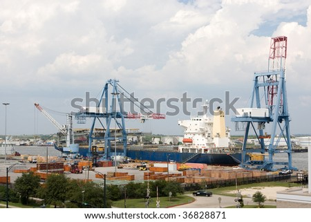 Freighter Being Loaded By Cranes Port Stock Photo (Royalty Free ...