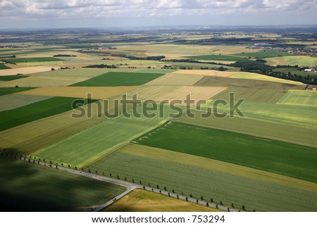 A French agricultural meadow or field taken from the air - stock photo