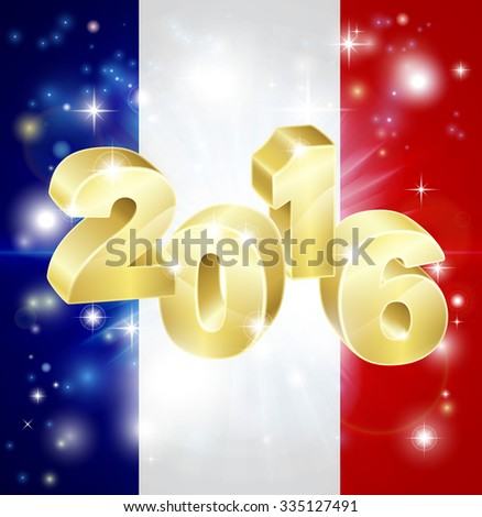 A French flag with 2016 coming out of it with fireworks. Concept for New Year or anything exciting happening in France in the year 2016. - stock photo