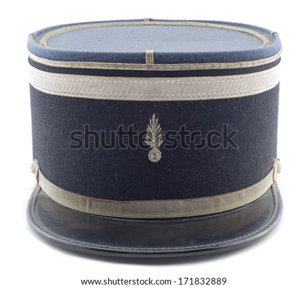 a French police hat on a white background - stock photo