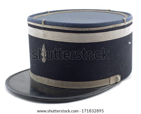 a French police hat on a white background